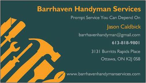 Barrhaven handyman services contact information