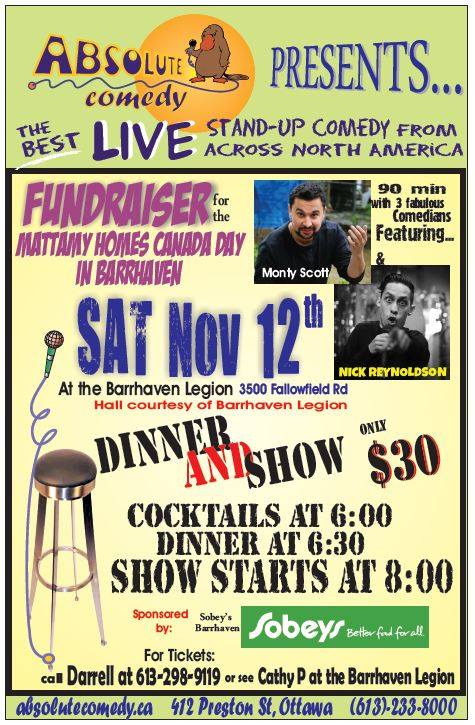 Barrhaven comedy show and dinner
