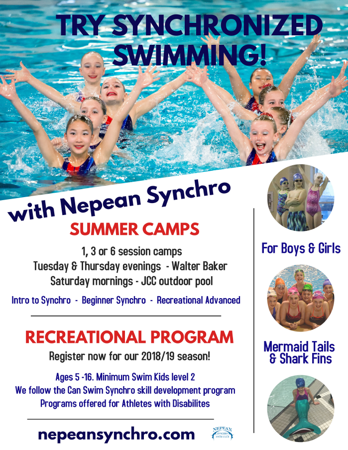 Barrhaven Nepean Ottawa Synchronized Swimming Summer Camps