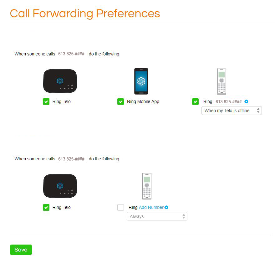 OOMA call forwarding preferences