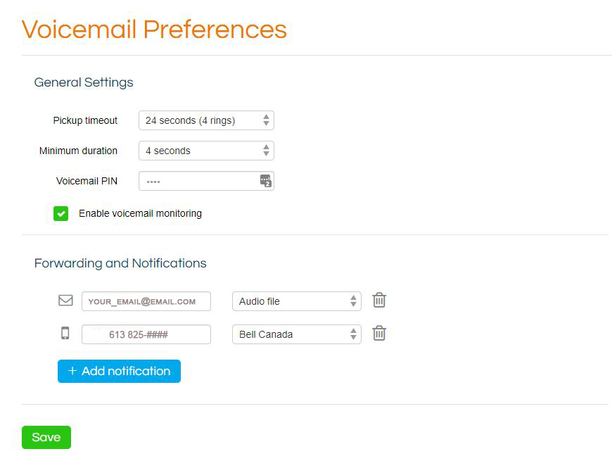 OOMA voicemail preferences