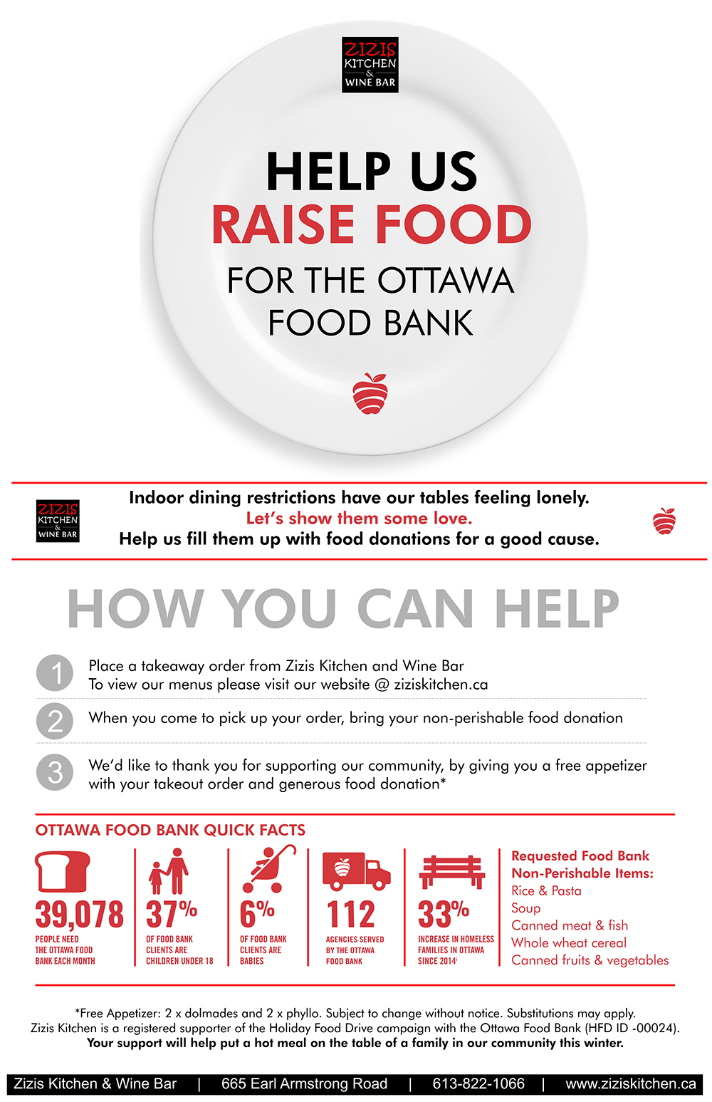 Zizis Kitchen Ottawa Food Bank Fundraiser